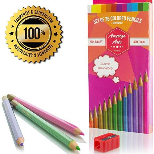 Buntstifte, für Erwachsene Färben Bücher. Amazing Farbige Bleistifte für Erwachsene und Kinder. Amerigo Set von 36Farben + Gratis Spitzer. Weiches Core. Tolles Bleistifte für Kinder auch.