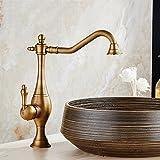GQLB Hahn Kupfer Wasserhahn bad Armatur Waschbecken höhe Einloch mischbatterie Küche mit warmen und kalten Wasserhahn Schwarz Bronze A1