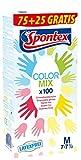 Spontex Color Mix 75+25 Gr. M - 100 bunte Einmalhandschuhe im Farb-Mix, latexfrei & ungepudert