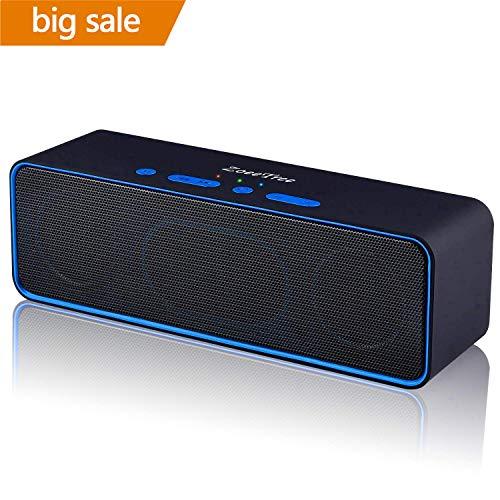 ZoeeTree S4 Tragbarer Bluetooth Lautsprecher Box, Dual Treiber Stereo Bluetooth Speaker, 10h Spielzeit, Eingebauten Mikrofon, USB/AUX/TF Karte, für iPhone, iPad, Samsung usw - Schwarz
