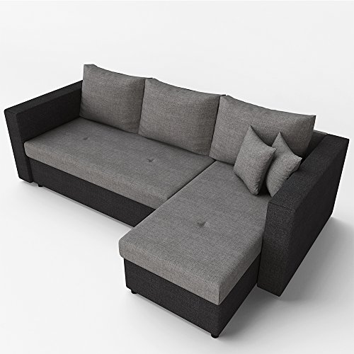 OSKAR Ecksofa mit Schlaffunktion Grau Schwarz – Stellmaß: 224 x 144 cm – Liege-Fläche: 200 x 140 cm – Sofa Couch Schlafsofa Polsterecke Bettfunktion