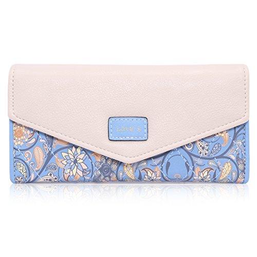 Damara Elegant Blume Muster Frisch Fashion Süß Elegant Damen Portemonnaie Geldbörse, Blau