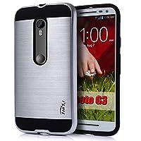 Tinxi Moto G 3Schutzhülle Motorola G 3. Generation 3. Gen. (G3) Nachahmung Metall Hartschale PC mit Silikon Weiche Gestell Innenschale 12,7cm, silber