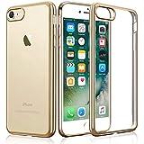 Funda iPhone 7, KKtick Funda Carcasa Gel Transparente [Choque Tecnología Absorción], Suave Flexible piel Resistente a los Arañazos Silicona TPU Bumper Cover Case Protectora para iPhone 7(Oro)