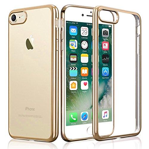 iPhone 7 Custodia, KKtick iPhone 7 Case Cover Sottile Silicone Galvanica TPU, Anti Slip, Antigraffio, Antiurto Bumper pelle protettiva per iPhone 7 (d'oro)