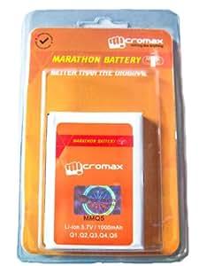 Micromax MMQ5 1000mAh Marathon Battery For Micromax Q1,Q2,Q3,Q4and Q5 Mobile Phones