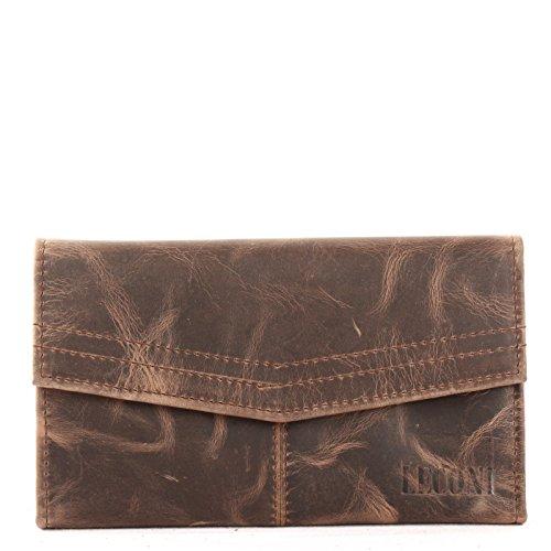 LECONI Geldbörse Portemonnaie Frauen große Brieftasche Kartentaschen Querformat Ledergeldbörse für Damen echtes Leder im Vintage-Look 18x11x3,5cm schlamm LE9013-wax