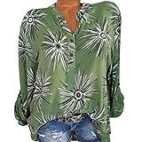 GJKK Bluse Damen Herbst Shirt Stehkragen Button Blumendruck Langarm Sweatshirt Übergröße Tops Oberteil T-Shirt Frauen Lose Langarmshirt Hemd Tunika(S-5XL)