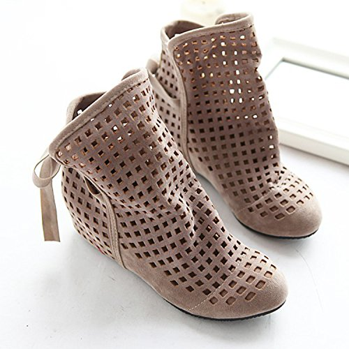 Oasap Women's Fashion Hollow Out Height Increasing Ankle Boots Khaki
