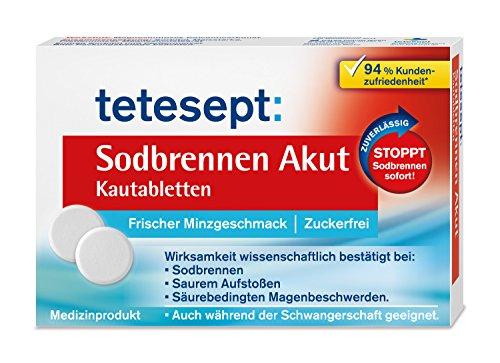 tetesept Sodbrennen Akut Kautabletten mit frischem Minzgeschmack - zuckerfrei – Hochdosiertes...