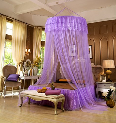 King-size-queen-size-bett-rahmen (SFGHOUSE Elegante Prinzessin Lace Dome Mosquito Net Bed Netting Canopy Vorhang (Violett))