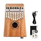 Uk Dream® 10 teclas EQ Kalimba, piano de dedo eléctrico de madera de caoba en tono de caoba con interfaz de audio de 6.35 mm y bolsa de Kalimba profesional y cable de audio UK-K10MEQ