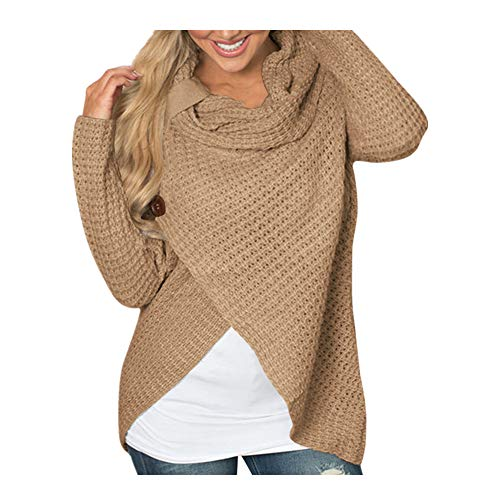 iHENGH Damen Herbst Winter Übergangs Warm Bequem Slim Mantel Lässig Stilvoll Frauen Langarm Solid Sweatshirt Pullover Tops Bluse Shirt(S,Khaki)
