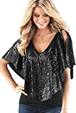 Damen Pailletten Shirt Sparkle Glitzer Weste Tops Sommer Glitzertop V-Ausschnitt Kurzarm Sequin Top Casual Bluse Black XL