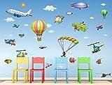 I-love-Wandtattoo WAS-10009 Wandsticker Kinderzimmer Flugzeuge Wandtattoo Wandaufkleber Sticker Aufkleber