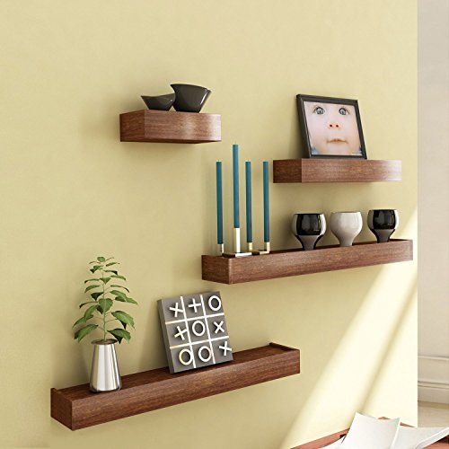 Artesia Brown Wooden Wall Shelf,Set Of Four/ Display Rack Shelf For Décor  available at amazon for Rs.1080