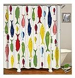 XIAOXINYUAN Farbe Fisch Polyester Duschvorhang Digitaldruck Wasserdicht und Schimmel Bad Vorhang Dekoration Zubehör 90×180Cm