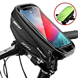 """Borse Bici Telaio Impermeabile Borsa Manubrio Bicicletta con Touch Screen, Porta Telefono MTB Borsa Porta Cellulare Bici per iPhone XS MAX/XR/X/8Plus/Samsung S9/S8 fino a 6,5"""" Smartphone, Nero"""