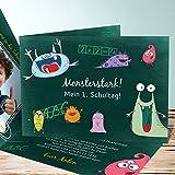 Einschulung Einladungen, School Monsters 15 Karten, Horizontale Klappkarte 148x105 inkl. weiße Umschläge, Grün