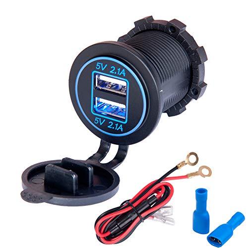 JTENG Auto USB Steckdose Kfz Ladegerät Buchse 12V Wasserdicht Dual USB Kfz Ladebuchse mit 60cm-Kabel Dual-Ladeanschlüsse für 12-V-Auto-Wohnmobil-Boot-Wohnmobil-Motorrad-Mobil