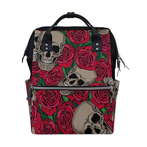 Gothic Fashion Festival Rose Blumen Schädel Große Kapazität Windel Taschen Mummy Rucksack Multi Funktionen Wickeltasche Tasche Handtasche Für Kinder Babypflege Reise Täglichen Frauen