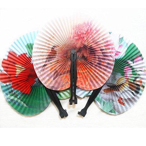 San Bodhi Faltbare Handfächer aus Papier, chinesisches orientalisches Blumendesign, für Hochzeit, Tischdekoration, Geschenk, 3 Stück, multi, Einheitsgröße -