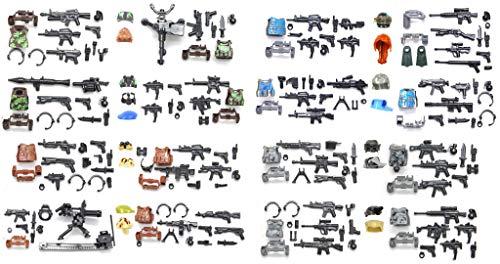 Nutto welfare moderno - armi soldato, armature e equipaggiamento militare per la personalizzazione delle minifigure - compatibile con le principali marche di building block (150 pezzi)