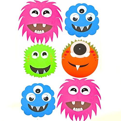 Blue Frog Toys 6x Monster-/Alien-Halloween-Masken aus Schaumstoff–lustige Kinder-Gesichtsmasken (Alien Maske Halloween)