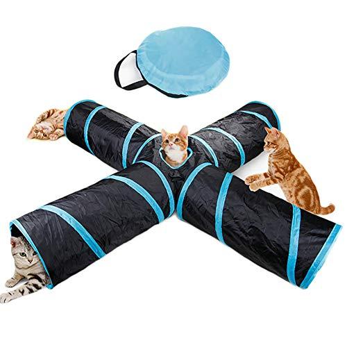 4-Wege-Katzentunnel Spielzeug, zusammenklappbar, 4-Wege-Haustier Kaninchen, Kätzchen, Katzen, Spieltunnel, Aufbewahrungstasche und Katzenminze Spielzeug