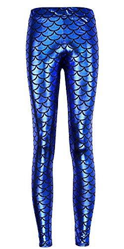 BOZEVON Skinny Ecaille De Poisson Shine Leggings pour Femmes Bleu