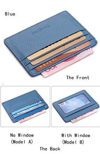 Cardholder aus samtweichem, europäischem Leder mit Platz für sechs Kreditkarten, Card Holder Kreditkartenhalter Kartenetui Kreditkarte Kartenhalter blau