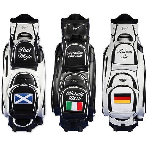"Personalizada: Bolsa de golf de carro 9.5"" MADEIRA ""nombre/bandera"" en blanco"