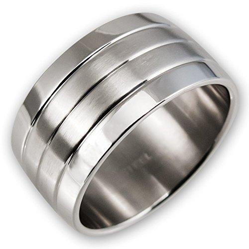 Fly Style® Herren Damen Band-Ring Edelstahl breit silber risst016, Ring Grösse:19.1 - Breites Band-ringe Silber
