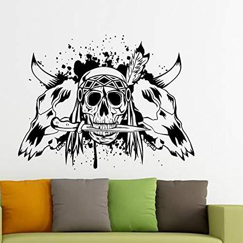 oween Horn Aufkleber Punk Tod Aufkleber Teufel Poster Name Autofenster Kunst Wandtattoos Parede Decor Wandbild 61 * 80 cm ()