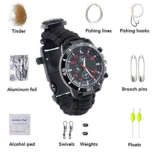Haosen 16 in 1 Multifunktions outdoor uhr mit kompass outdoor armbanduhr - Outdoor Überlebenskit armbanduhr kompass,Idealer Partner für Bergsteigen Camping