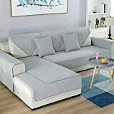 DW&HX 100% Baumwolle Anti-rutsch-Sofa slipcovers, 1-teilige Sofabezug Handtuch Schmutz-Beweis Möbel-Protector für Hund Kinder Sofa slipcover -Hellgrau 28x71inch(70x180cm)