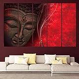 Kyara Arts Multiple Frames, Beautiful Buddha Wall Painting For Living Room, Bedroom, Office, Hotels, Drawing Room Wooden Framed Digital Painting (76cmx148cm)