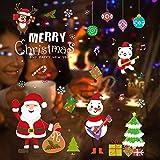 Weihnachten Fensterbilder, Schneeflocken Weihnachtsmann Fenster deko Statisch PVC Aufklebe Fensterdeko Fensterfolie Fenstersticker für Weihnachts Winter Dekoration Schaufenster Vitrinen Glasfronten