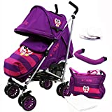 iSafe Buggy Stroller Pushchair - Owl & Button Complete with Footmuff, Changing Bag, Bumper Bar, Headhugger and Raincover