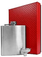Idea Regalo - eyepower Fiaschetta in acciaio inox 210ml + imbuto + elegante confezione regalo | Fiasca di metallo inossidabile 0,2 l per alcolici | Bottiglietta 7oz