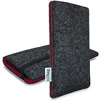 Stilbag maßgeschneiderte Handyhülle FINN - Anfertigung für Smartphones mit Case möglich | Farbe: anthrazit-rot | Smartphone-Tasche aus Filz | Handy Schutzhülle | Handytasche Made in Germany