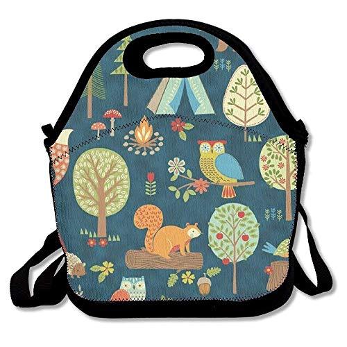 Dozili Lunch-Tasche, aus Neopren, mit Eichhörnchen, Eulenbaum, groß, dick, isoliert, Kühltasche, warm, mit Schultergurt, für Damen, Teenager, Mädchen, Kinder und Erwachsene