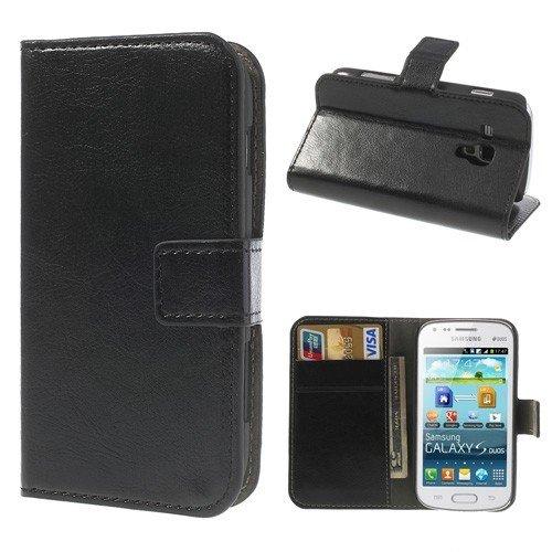 jbTec® Flip Case Handy-Hülle zu Samsung Galaxy S Duos / GT-S7562, Duos 2 / GT-S7582 - BOOK Schwarz - Handy-Tasche, Schutz-Hülle, Cover, Handyhülle, Ständer, Bookstyle, Booklet
