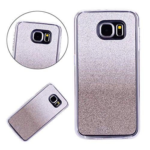 Galaxy S6 Bling Hülle, Samsung Galaxy S6 Schutzhülle, MUTOUREN Gradient Farbe Glitzern Handyhülle Case Cover TPU Silikontasche Transparent Ultra dünne Gel Anti-scratch Etui Bumper - Schwarz