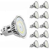 LE Bombillas LED GU10 MR16 equivalencia halógena 50W, 3.5W, blanco frío 6000K, 350lm, 120°, pack de 10
