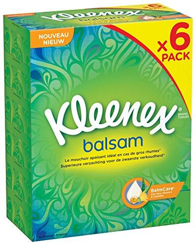 Kleenex Balsam P80 Taschentücher-Box, 80Tücher-6er-Pack (insgesamt 480Taschentücher) -