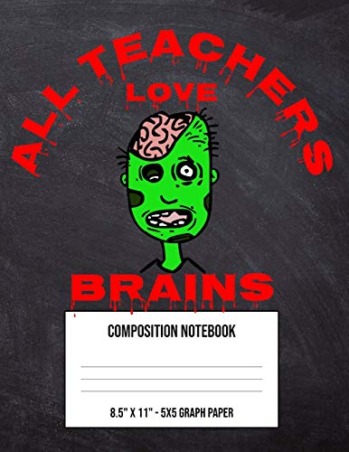 All Teachers Love Brains: Large 5 x 5 Math Graph Paper Composition Notebook and Grid Squared Paper For Fourth Fifth Sixth Grade High School Kid - Halloween Scary Green Zombie (8.5