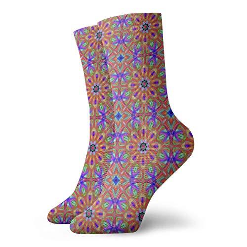 Ye Hua Fun Socks-Amber Mandala_1849 Malerei Kunst gedruckt lustige Neuheit Tier lässig Baumwolle Crew Socken 11.8inch - Amber Antibakteriell