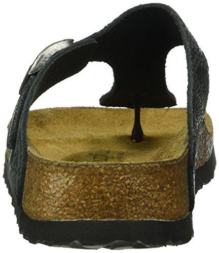 Birkenstock Damen Gizeh Leder Zehentrenner Schwarz (Royal Python Black)