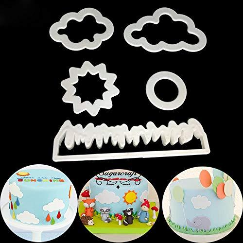 Vektenxi Premium Qualität Gras/Sonne/Wolke Kunststoff Fondant Fräser Kuchenform Fondantform Fondant Kuchen Dekorieren Werkzeuge